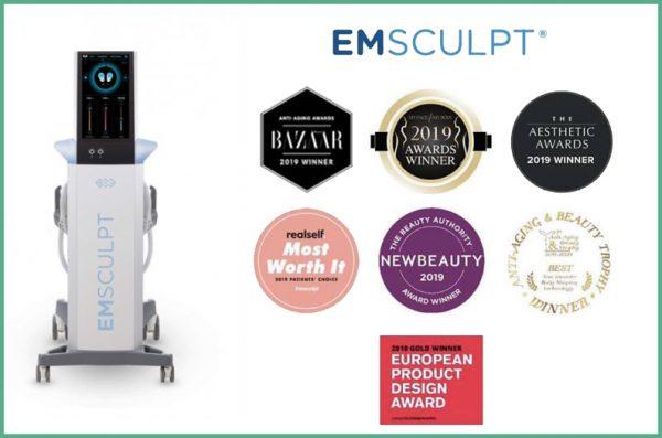 Emsculpt รางวัล อันดับ 1 Nonsurgical Cosmetic Treatment For Body จาก Realself และ Awards อีกมากมายค่ะ